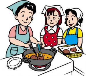 調理台で調理